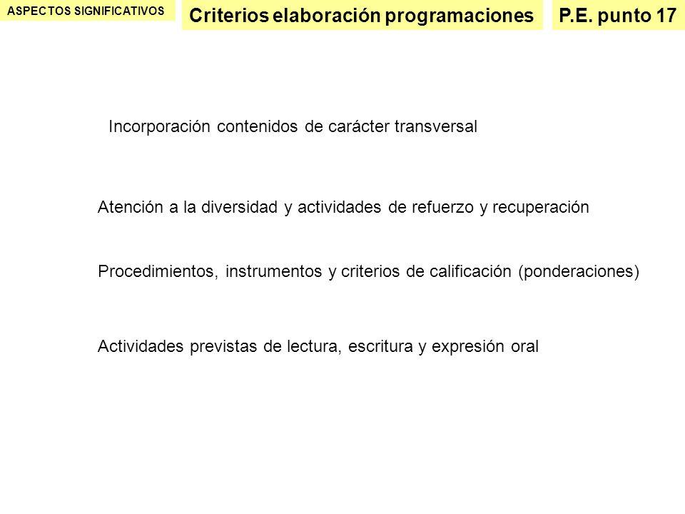 Criterios elaboración programaciones P.E. punto 17