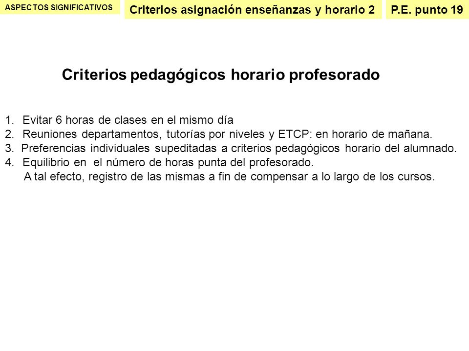 Criterios pedagógicos horario profesorado