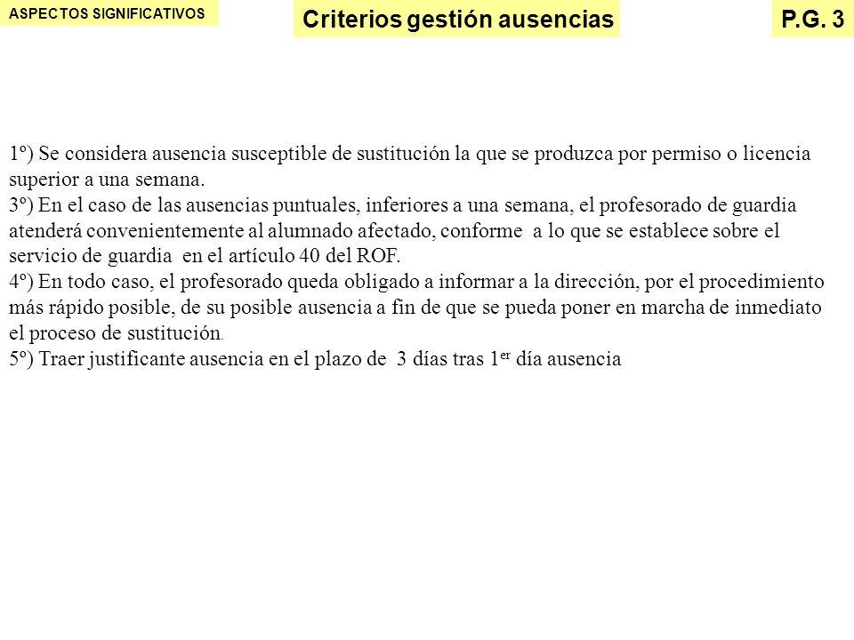 Criterios gestión ausencias P.G. 3