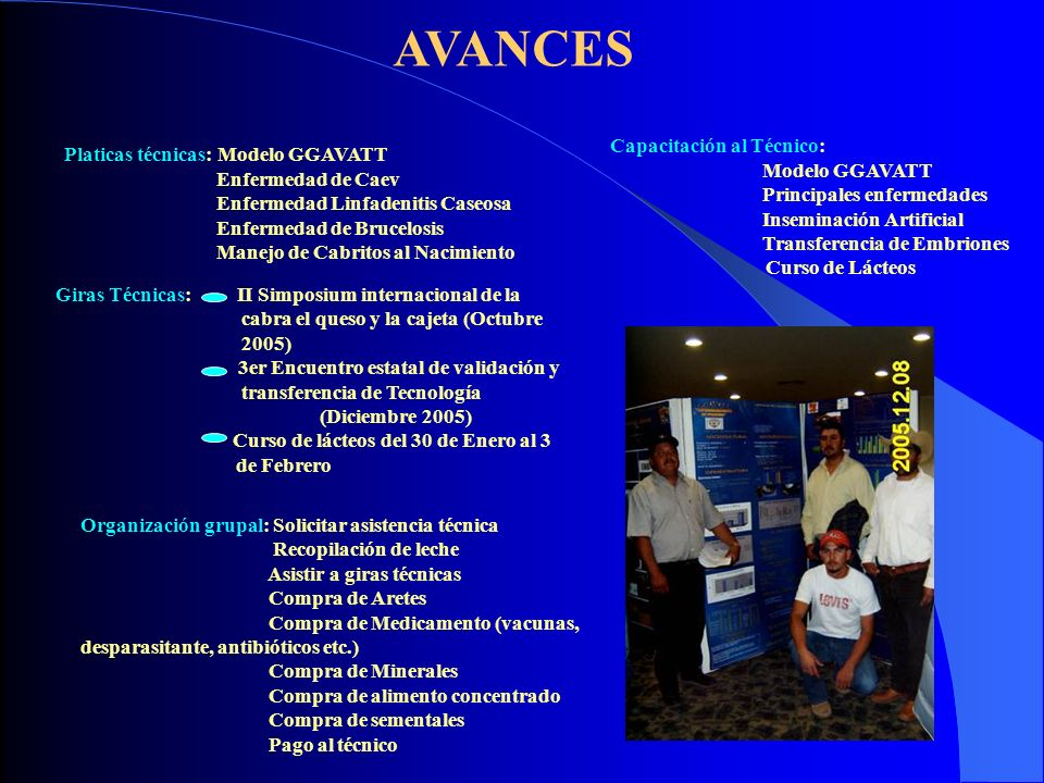 AVANCES Capacitación al Técnico: Platicas técnicas: Modelo GGAVATT