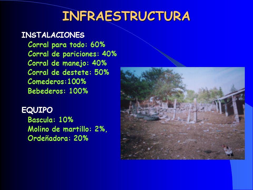 INFRAESTRUCTURA EQUIPO INSTALACIONES Corral para todo: 60%