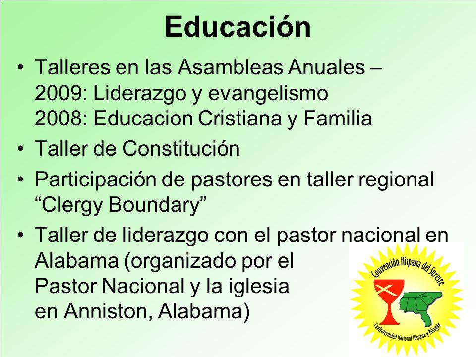 Educación Talleres en las Asambleas Anuales – 2009: Liderazgo y evangelismo 2008: Educacion Cristiana y Familia.