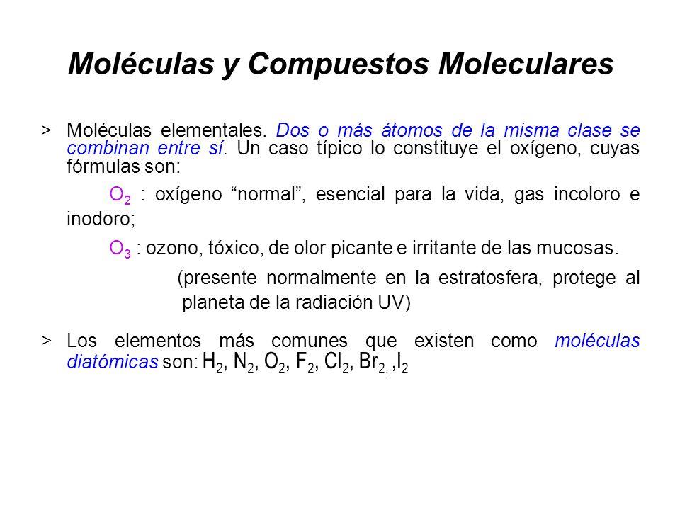 Moléculas y Compuestos Moleculares