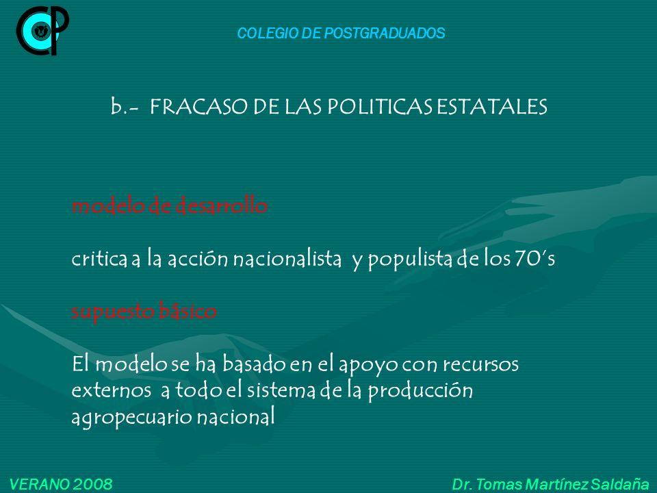 COLEGIO DE POSTGRADUADOS b.- FRACASO DE LAS POLITICAS ESTATALES