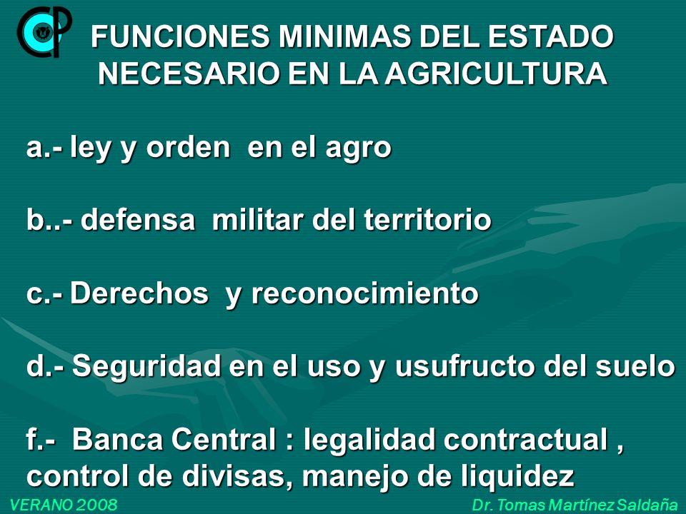 FUNCIONES MINIMAS DEL ESTADO NECESARIO EN LA AGRICULTURA