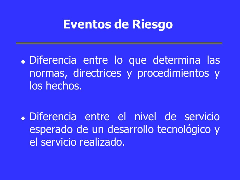 Eventos de Riesgo Diferencia entre lo que determina las normas, directrices y procedimientos y los hechos.