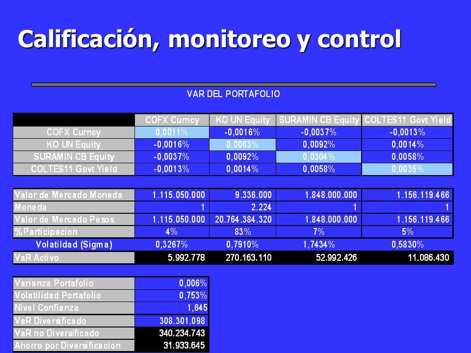 Calificación, monitoreo y control