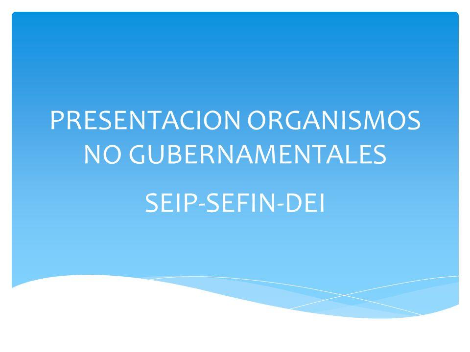 PRESENTACION ORGANISMOS NO GUBERNAMENTALES