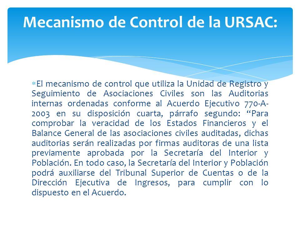 Mecanismo de Control de la URSAC:
