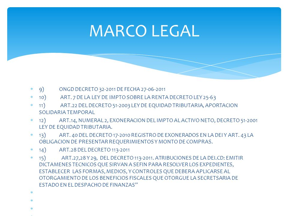 MARCO LEGAL 9) ONGD DECRETO 32-2011 DE FECHA 27-06-2011