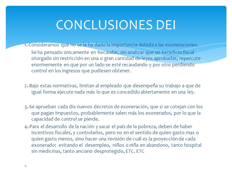 CONCLUSIONES DEI 1.-Consideramos que no se le ha dado la importancia debida a las exoneraciones.