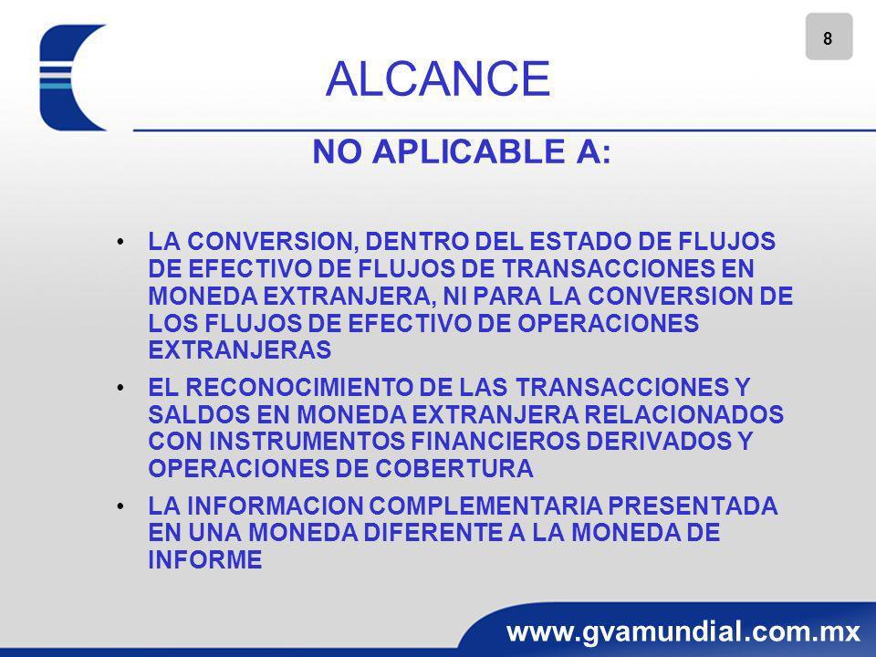 ALCANCE NO APLICABLE A: