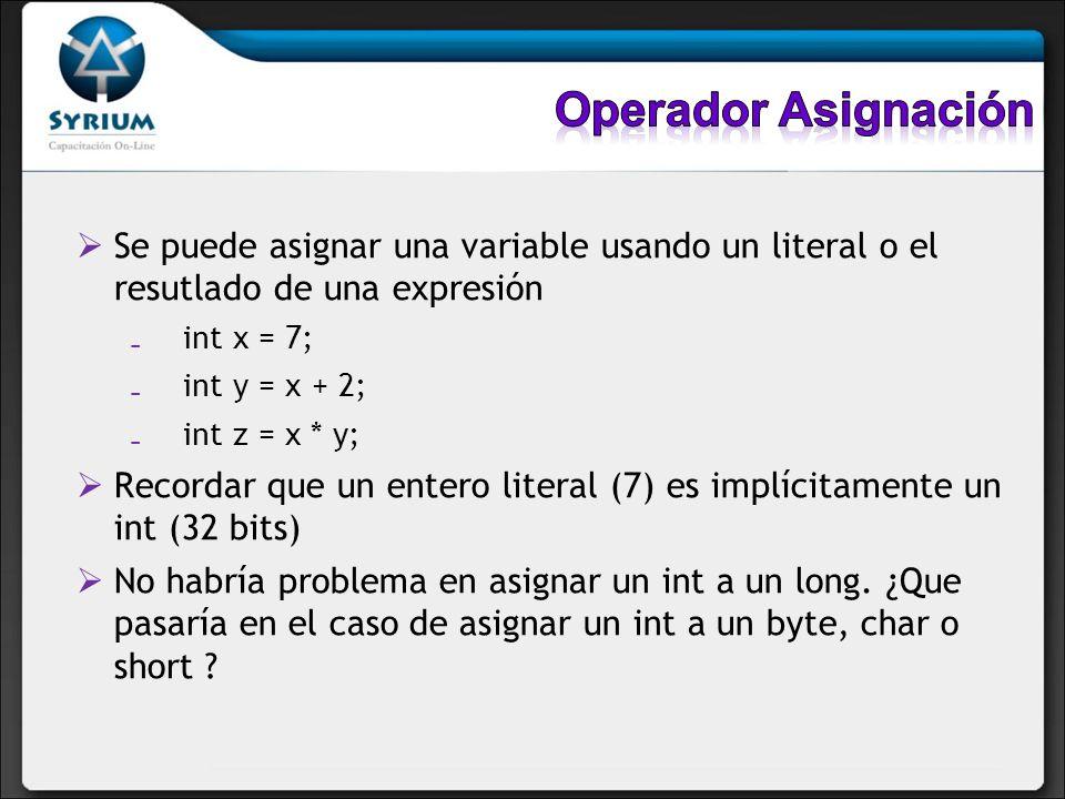 Operador Asignación Se puede asignar una variable usando un literal o el resutlado de una expresión.