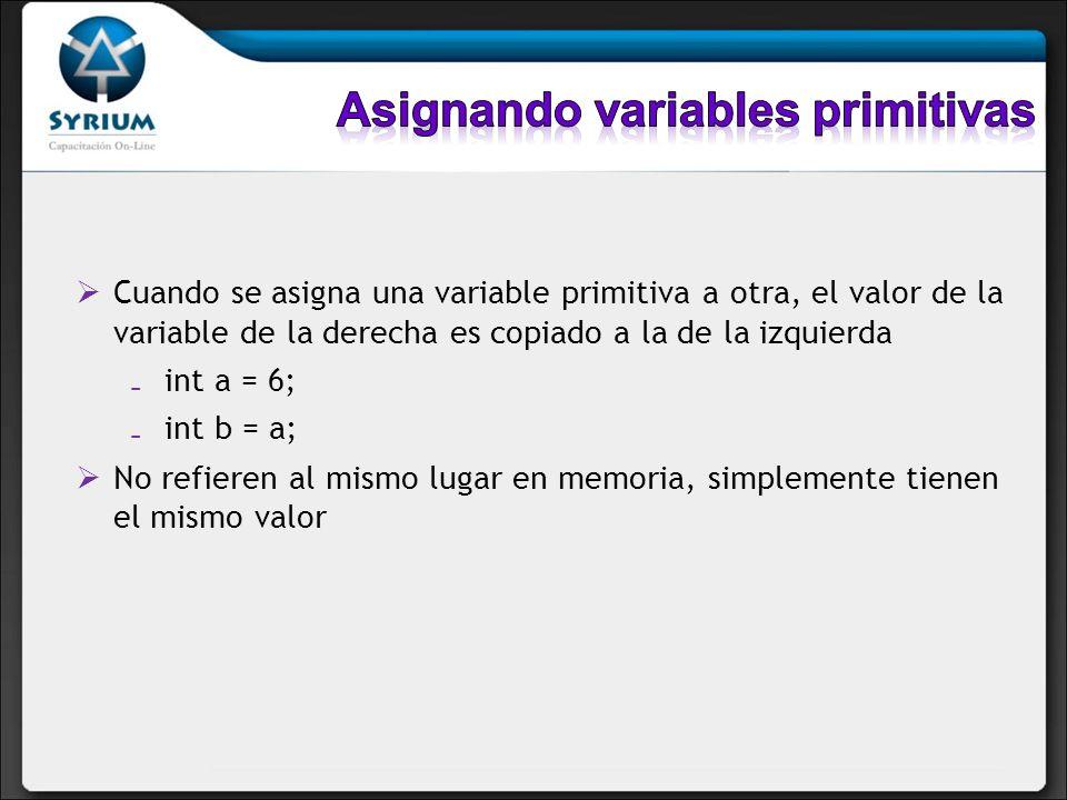 Asignando variables primitivas