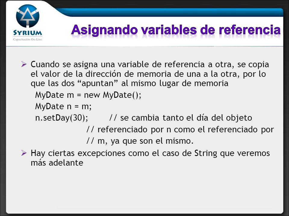 Asignando variables de referencia