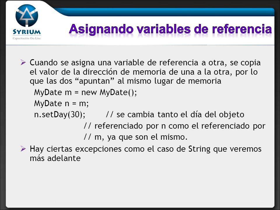 Asignando variables de referencia