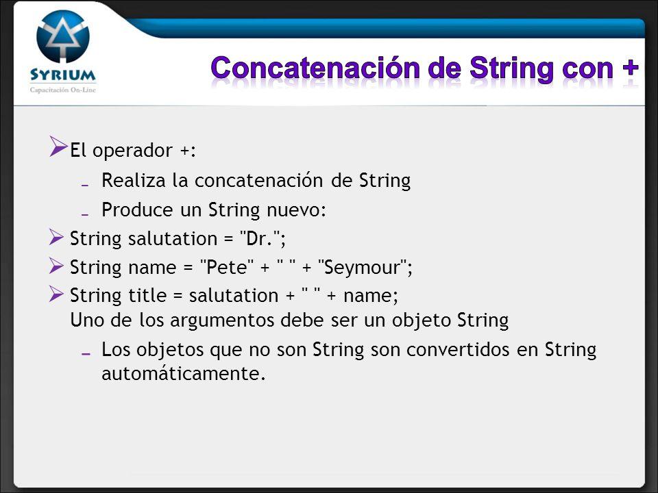 Concatenación de String con +