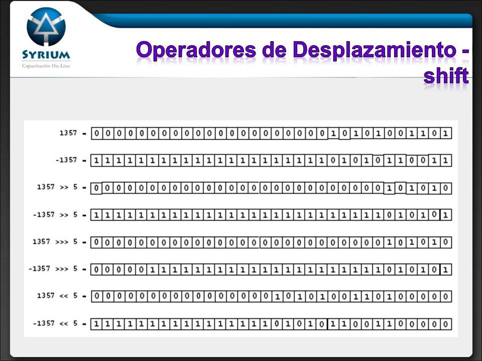 Operadores de Desplazamiento - shift