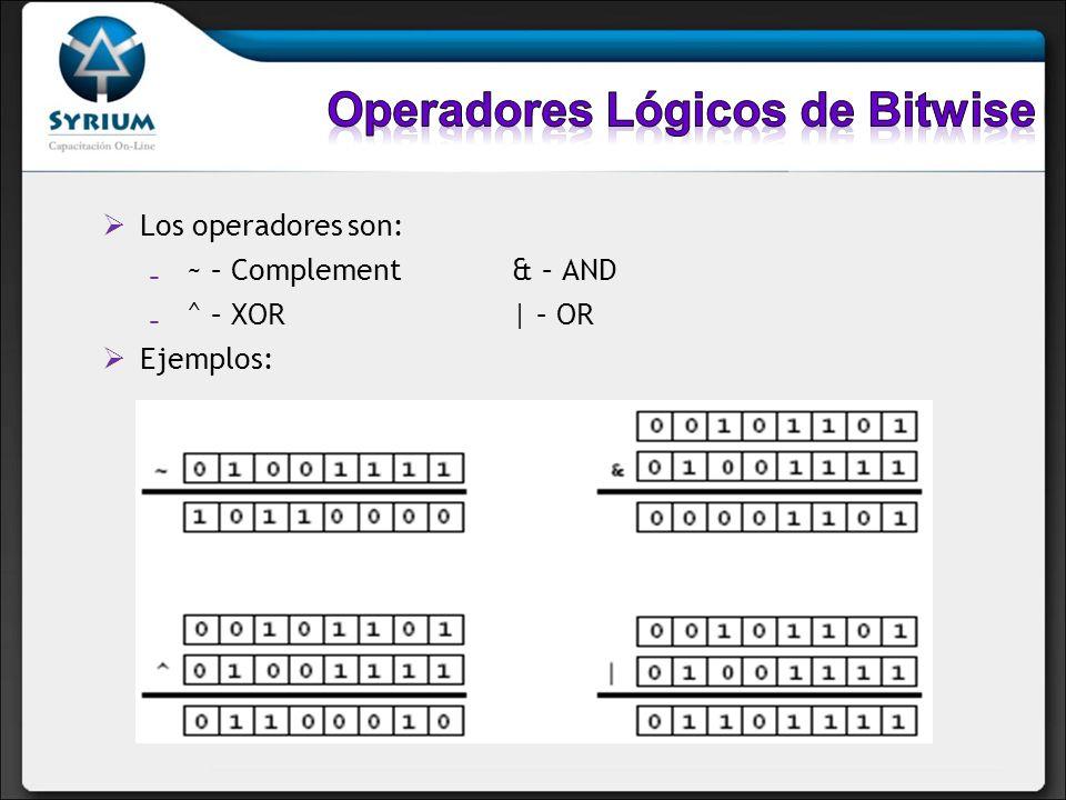 Operadores Lógicos de Bitwise