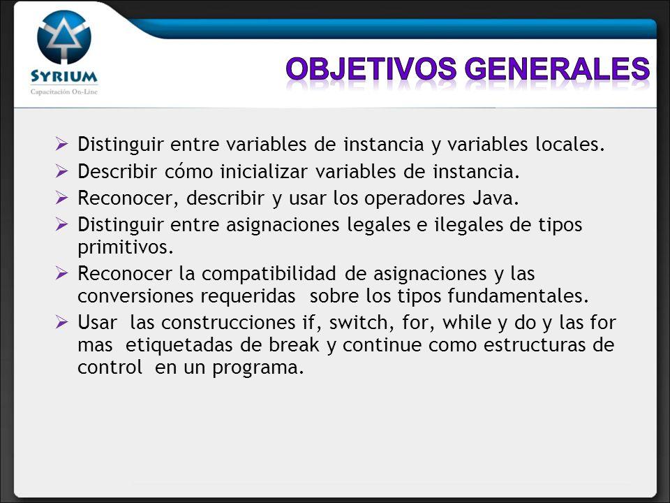 Objetivos generalesDistinguir entre variables de instancia y variables locales. Describir cómo inicializar variables de instancia.