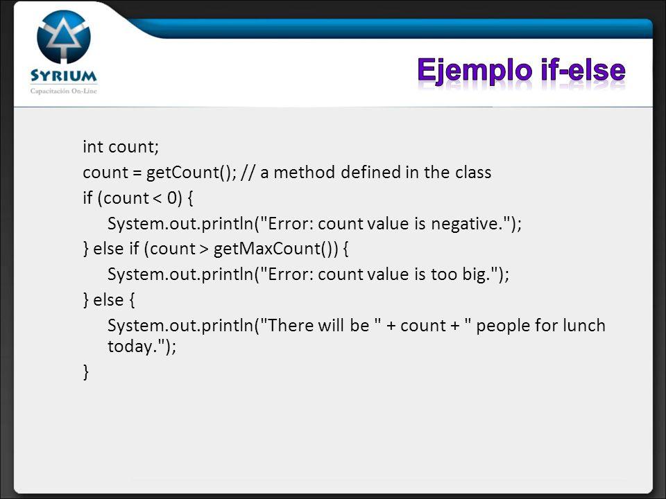 Ejemplo if-else int count;