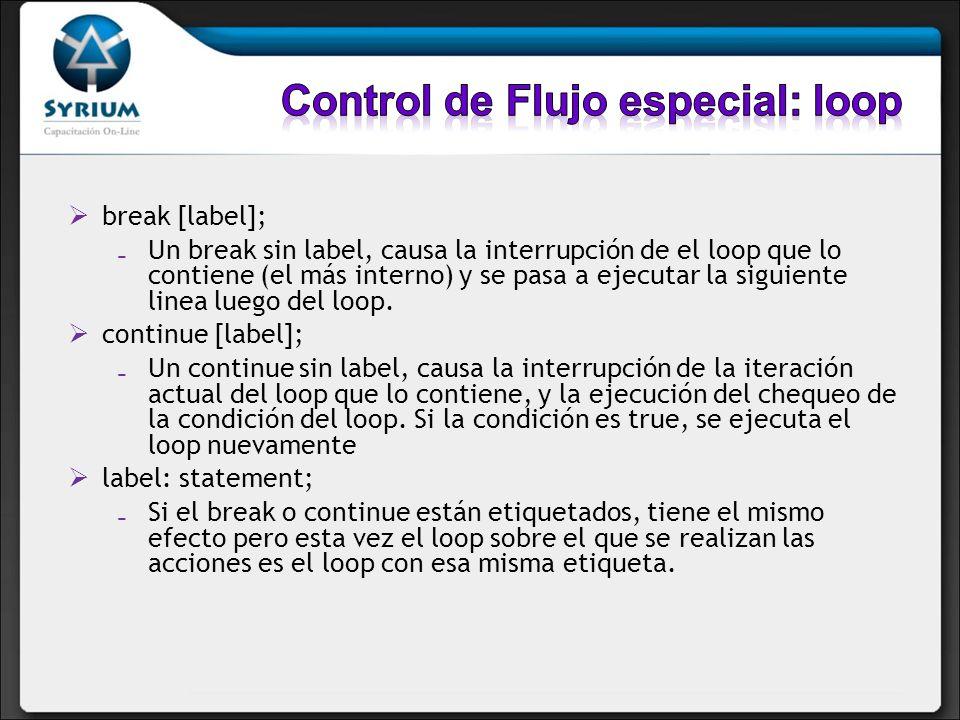 Control de Flujo especial: loop