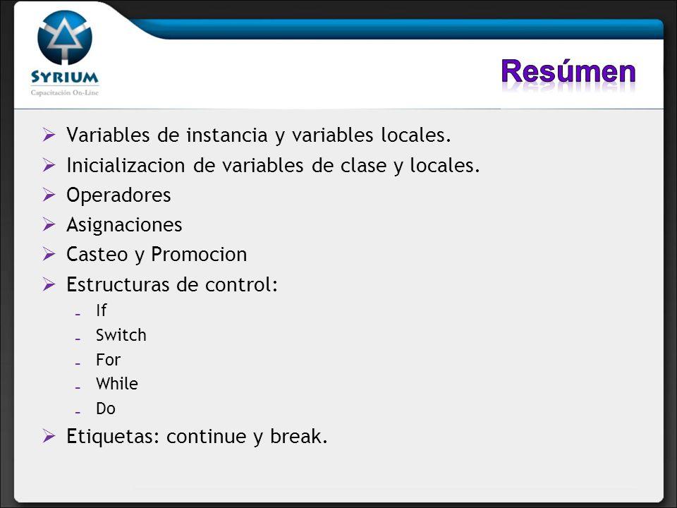 Resúmen Variables de instancia y variables locales.