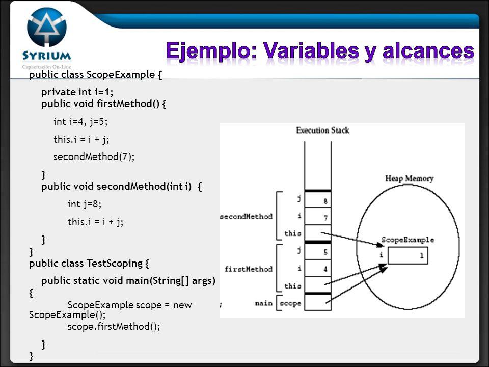 Ejemplo: Variables y alcances