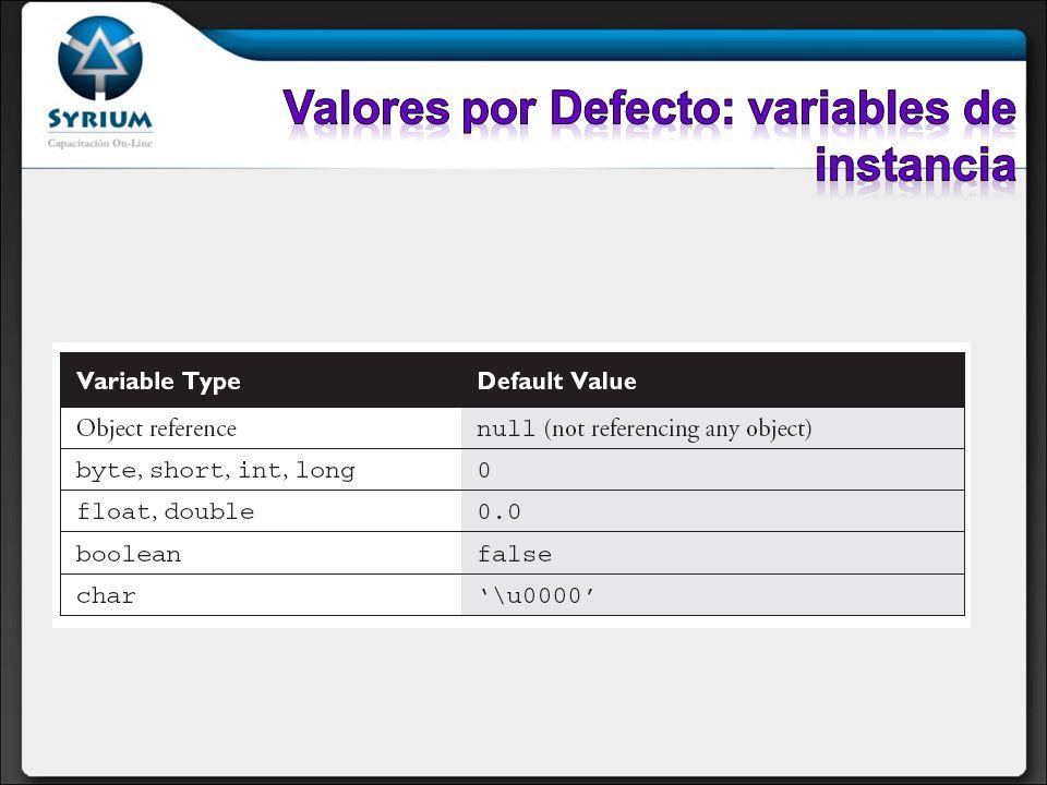 Valores por Defecto: variables de instancia