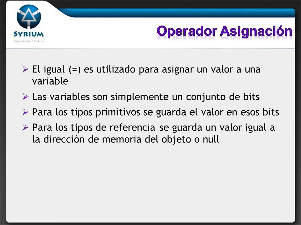 Operador AsignaciónEl igual (=) es utilizado para asignar un valor a una variable. Las variables son simplemente un conjunto de bits.