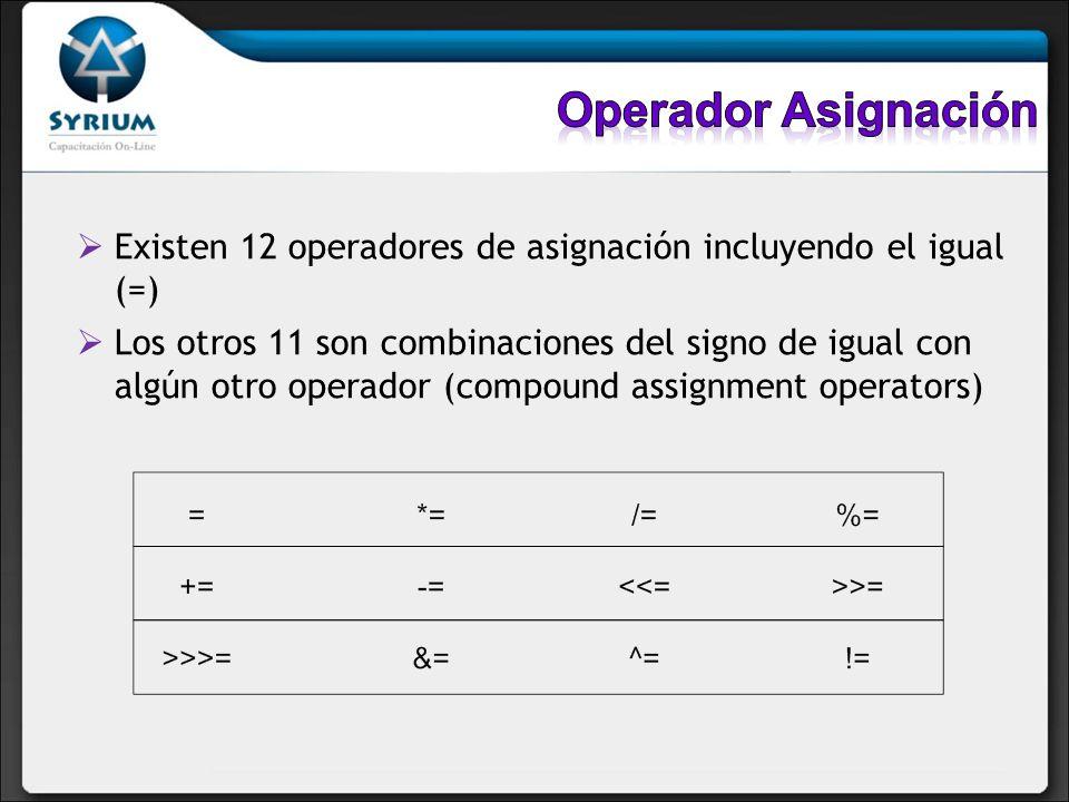 Operador Asignación Existen 12 operadores de asignación incluyendo el igual (=)