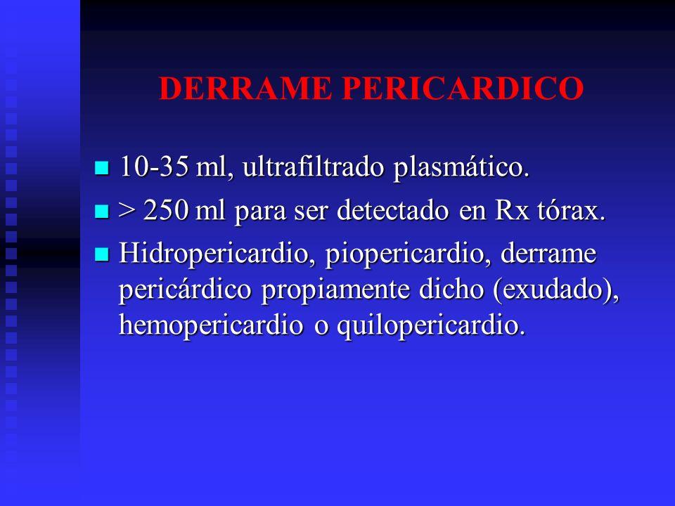DERRAME PERICARDICO 10-35 ml, ultrafiltrado plasmático.