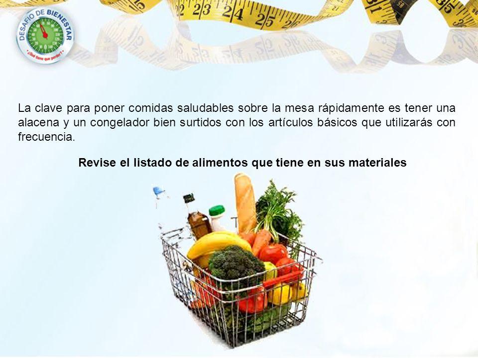 Revise el listado de alimentos que tiene en sus materiales