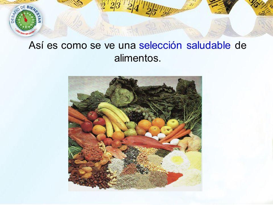 Así es como se ve una selección saludable de alimentos.