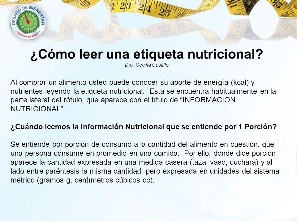 ¿Cómo leer una etiqueta nutricional