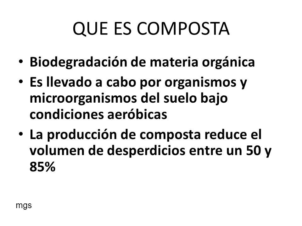 QUE ES COMPOSTA Biodegradación de materia orgánica