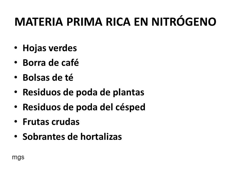 MATERIA PRIMA RICA EN NITRÓGENO