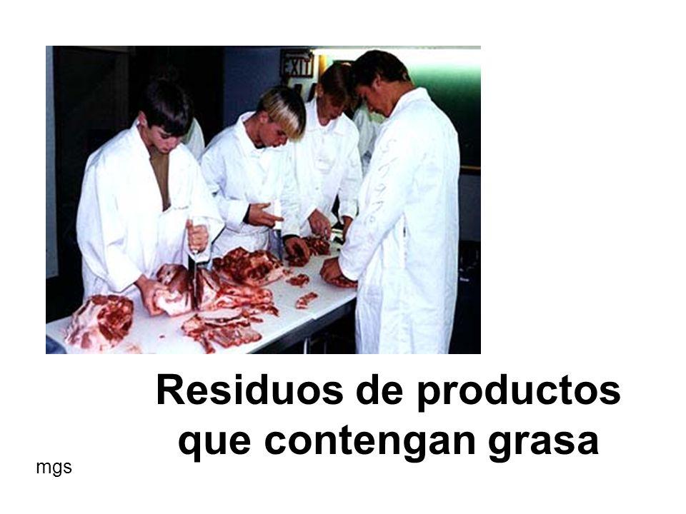 Residuos de productos que contengan grasa