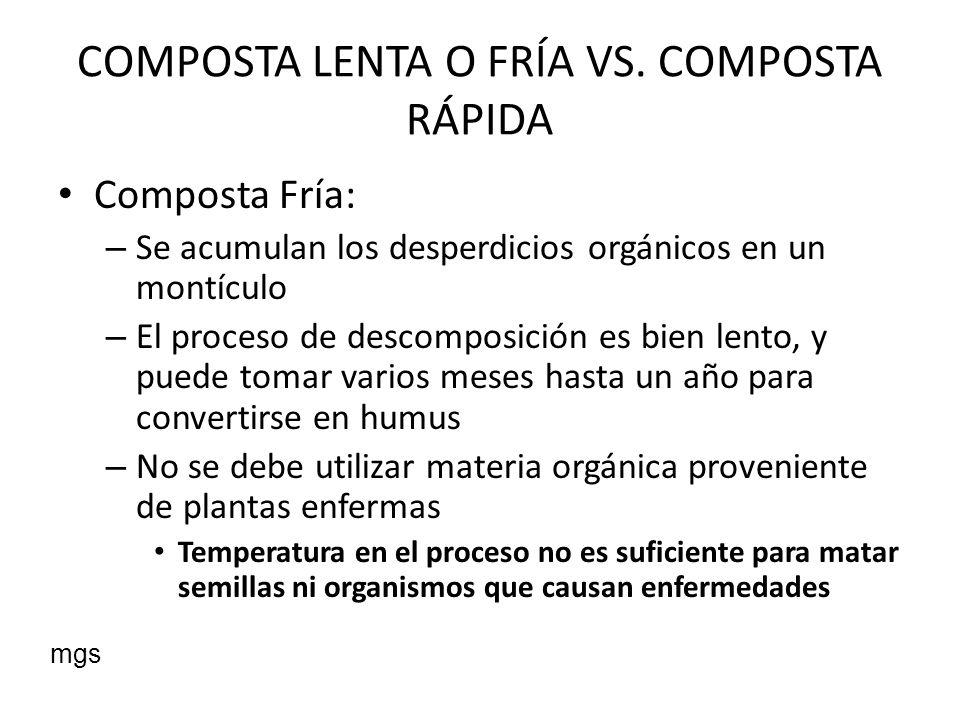 COMPOSTA LENTA O FRÍA VS. COMPOSTA RÁPIDA