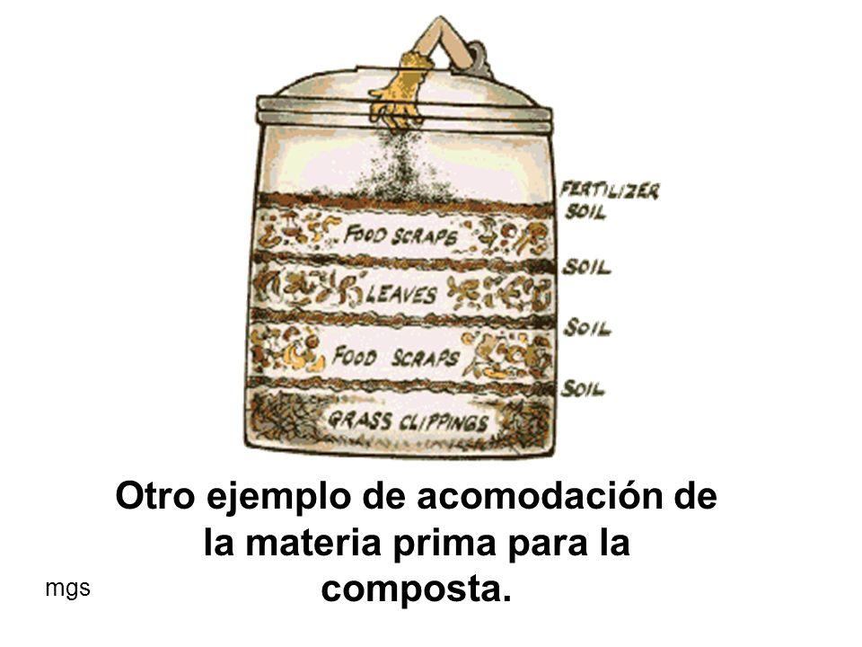 Otro ejemplo de acomodación de la materia prima para la composta.