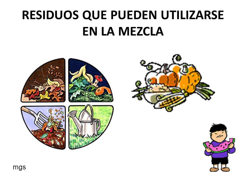 RESIDUOS QUE PUEDEN UTILIZARSE EN LA MEZCLA