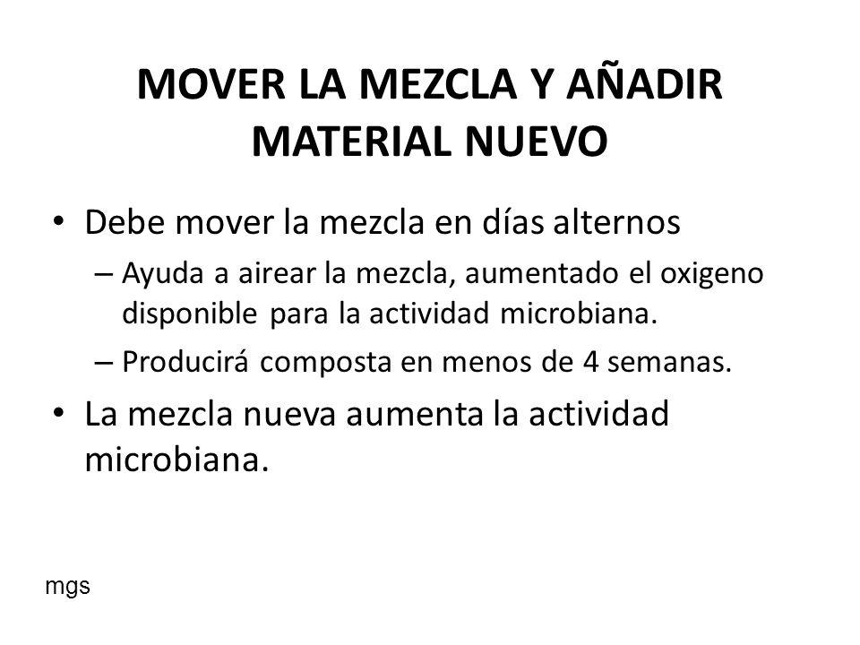MOVER LA MEZCLA Y AÑADIR MATERIAL NUEVO
