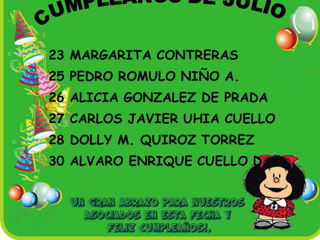 26 ALICIA GONZALEZ DE PRADA 27 CARLOS JAVIER UHIA CUELLO