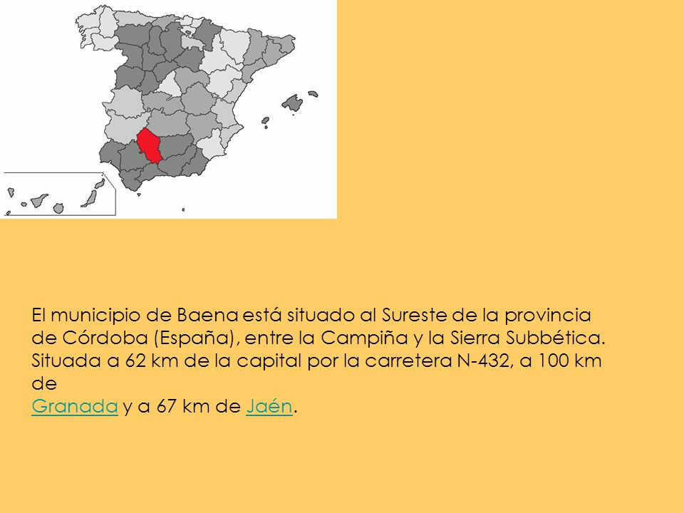El municipio de Baena está situado al Sureste de la provincia