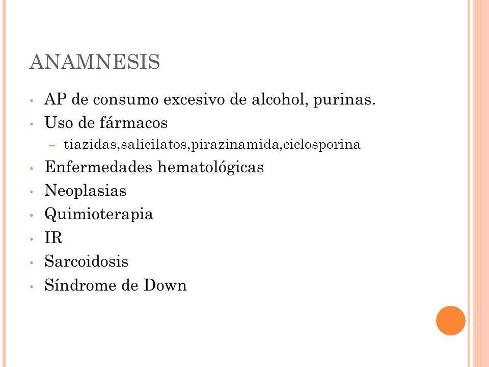 ANAMNESIS AP de consumo excesivo de alcohol, purinas. Uso de fármacos