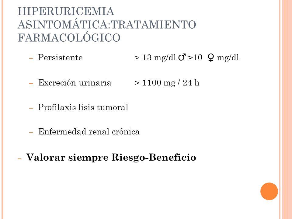 HIPERURICEMIA ASINTOMÁTICA:TRATAMIENTO FARMACOLÓGICO