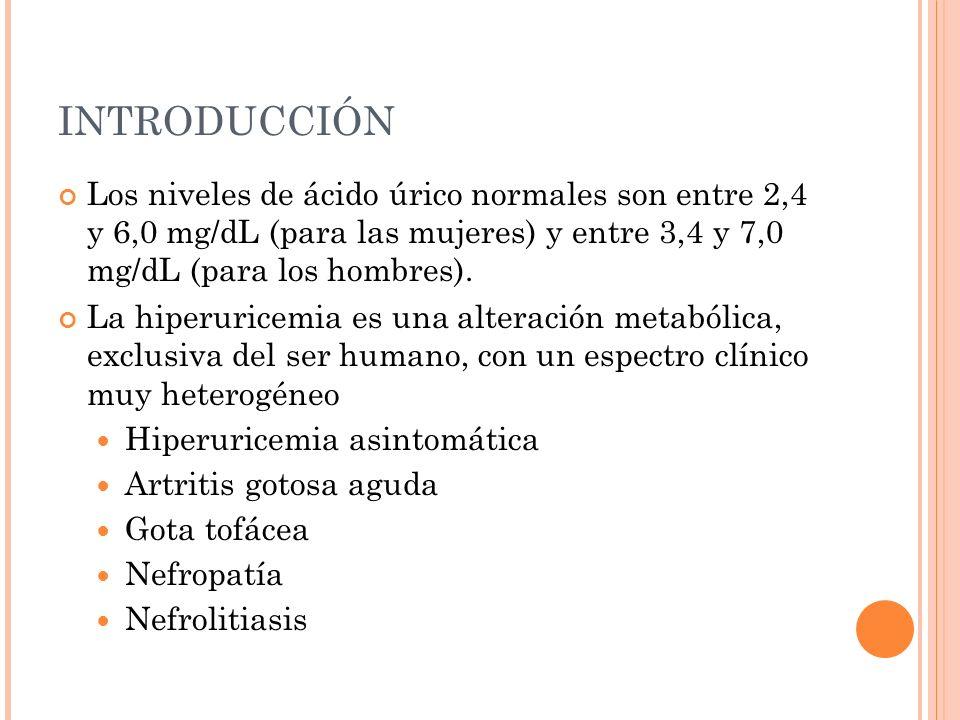 INTRODUCCIÓN Los niveles de ácido úrico normales son entre 2,4 y 6,0 mg/dL (para las mujeres) y entre 3,4 y 7,0 mg/dL (para los hombres).