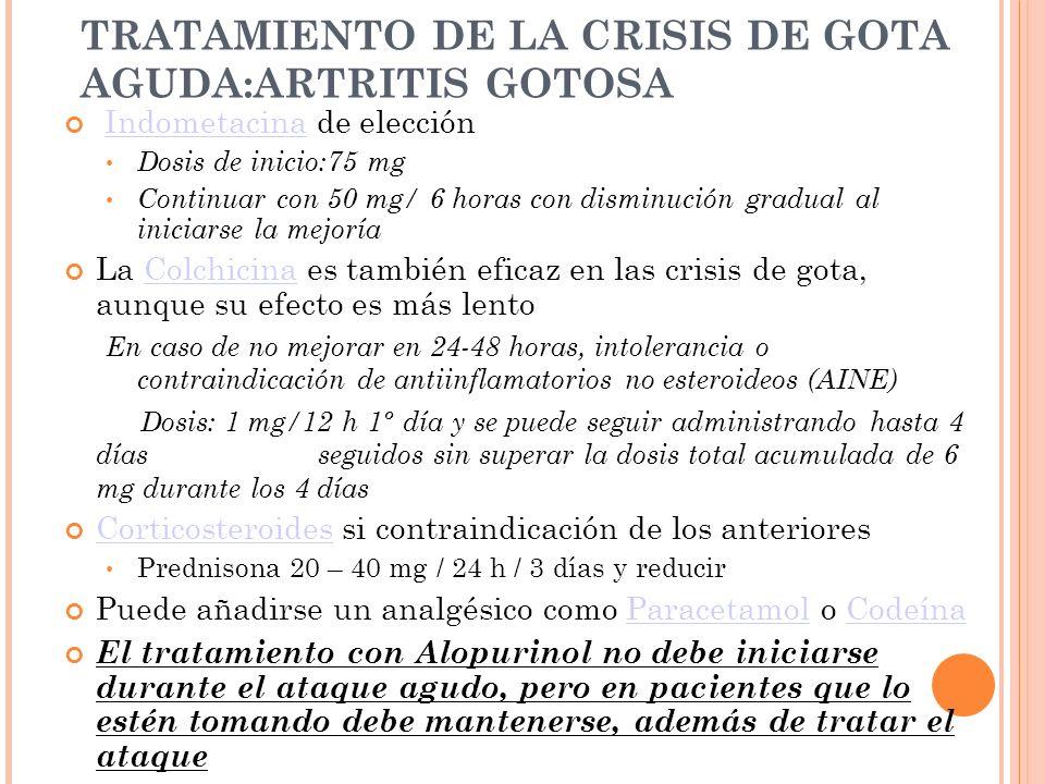 TRATAMIENTO DE LA CRISIS DE GOTA AGUDA:ARTRITIS GOTOSA