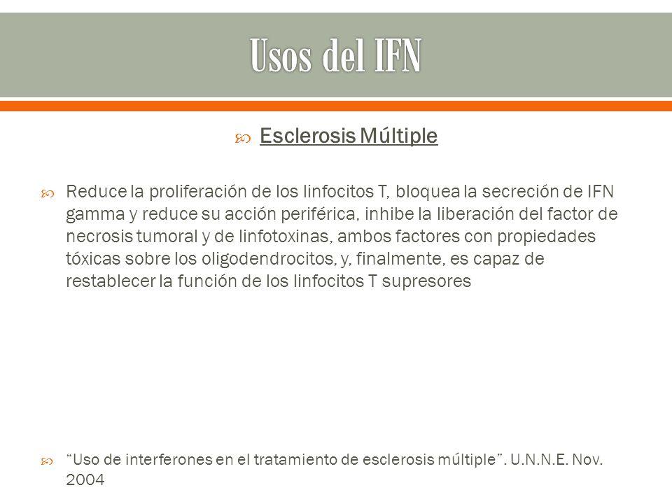 Usos del IFN Esclerosis Múltiple