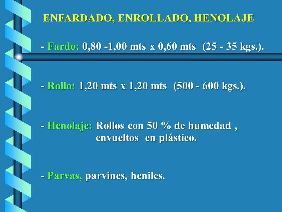 - Fardo: 0,80 -1,00 mts x 0,60 mts (25 - 35 kgs.).